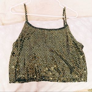Tops - SEQUINED CROPPED TANK TOP